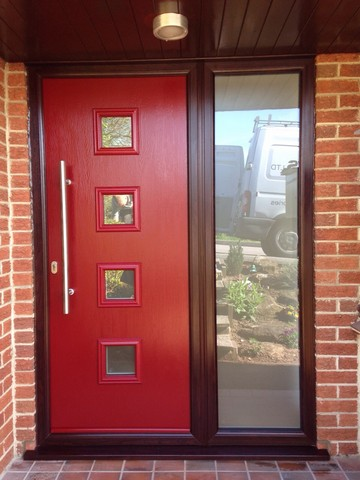 20 red upvc front door front door with stained new upvc for Exterior doors fitted